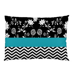 Flowers Turquoise Pattern Floral Pillow Case by BangZart