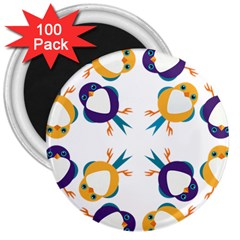 Pattern Circular Birds 3  Magnets (100 Pack) by BangZart