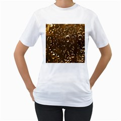 Festive Bubbles Sparkling Wine Champagne Golden Water Drops Women s T Shirt (white) (two Sided) by yoursparklingshop