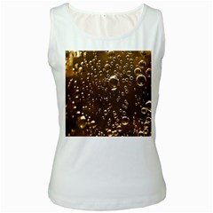 Festive Bubbles Sparkling Wine Champagne Golden Water Drops Women s White Tank Top by yoursparklingshop