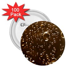 Festive Bubbles Sparkling Wine Champagne Golden Water Drops 2 25  Buttons (100 Pack)  by yoursparklingshop