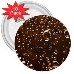 Festive Bubbles Sparkling Wine Champagne Golden Water Drops 3  Buttons (10 Pack)  by yoursparklingshop