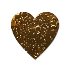 Festive Bubbles Sparkling Wine Champagne Golden Water Drops Heart Magnet by yoursparklingshop