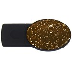 Festive Bubbles Sparkling Wine Champagne Golden Water Drops USB Flash Drive Oval (2 GB) Front