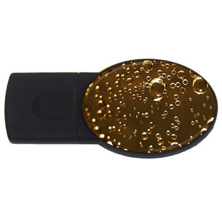 Festive Bubbles Sparkling Wine Champagne Golden Water Drops USB Flash Drive Oval (2 GB)
