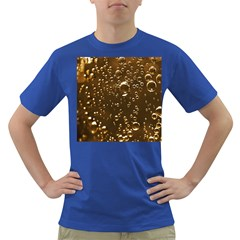 Festive Bubbles Sparkling Wine Champagne Golden Water Drops Dark T Shirt by yoursparklingshop