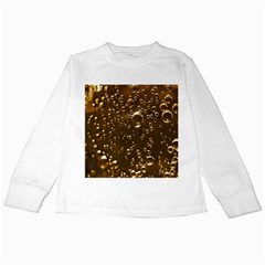 Festive Bubbles Sparkling Wine Champagne Golden Water Drops Kids Long Sleeve T Shirts by yoursparklingshop