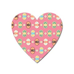 Cute Eggs Pattern Heart Magnet by linceazul