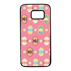 Cute Eggs Pattern Samsung Galaxy S7 Black Seamless Case by linceazul
