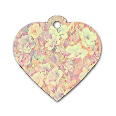 Lovely Floral 36b Dog Tag Heart (two Sides) by MoreColorsinLife