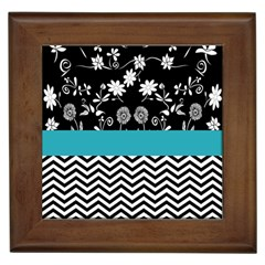 Flowers Turquoise Pattern Floral Framed Tiles by BangZart