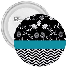Flowers Turquoise Pattern Floral 3  Buttons by BangZart