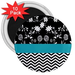 Flowers Turquoise Pattern Floral 3  Magnets (10 Pack)  by BangZart