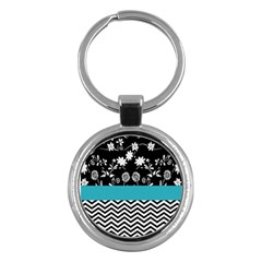 Flowers Turquoise Pattern Floral Key Chains (round)