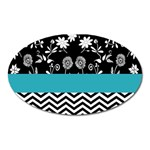 Flowers Turquoise Pattern Floral Oval Magnet Front