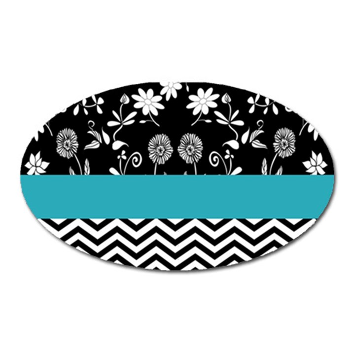 Flowers Turquoise Pattern Floral Oval Magnet