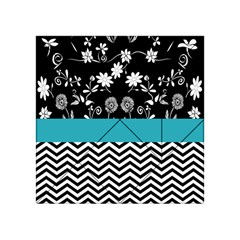 Flowers Turquoise Pattern Floral Acrylic Tangram Puzzle (4  X 4 ) by BangZart