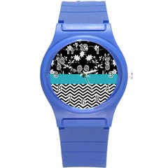 Flowers Turquoise Pattern Floral Round Plastic Sport Watch (s) by BangZart