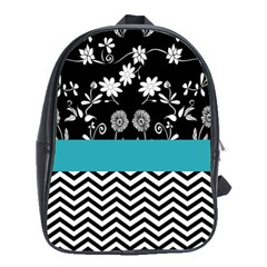 Flowers Turquoise Pattern Floral School Bags (xl)  by BangZart