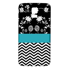 Flowers Turquoise Pattern Floral Samsung Galaxy S5 Back Case (white)