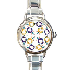 Pattern Circular Birds Round Italian Charm Watch by BangZart