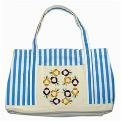Pattern Circular Birds Striped Blue Tote Bag by BangZart