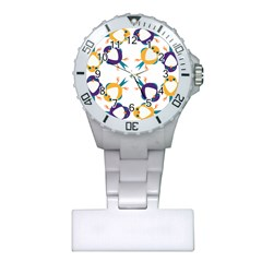 Pattern Circular Birds Plastic Nurses Watch