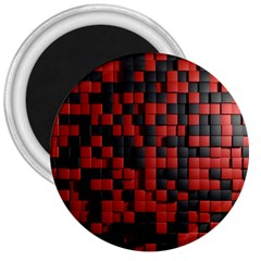 Black Red Tiles Checkerboard 3  Magnets by BangZart