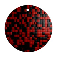 Black Red Tiles Checkerboard Ornament (round) by BangZart