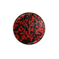 Black Red Tiles Checkerboard Hat Clip Ball Marker (4 Pack) by BangZart