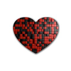 Black Red Tiles Checkerboard Rubber Coaster (heart)  by BangZart