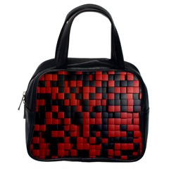 Black Red Tiles Checkerboard Classic Handbags (one Side) by BangZart