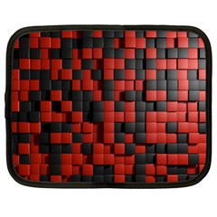 Black Red Tiles Checkerboard Netbook Case (xl)  by BangZart