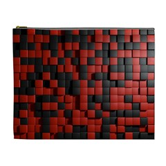 Black Red Tiles Checkerboard Cosmetic Bag (xl) by BangZart