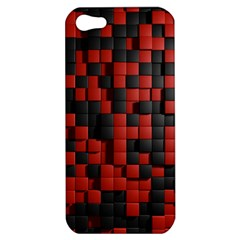 Black Red Tiles Checkerboard Apple Iphone 5 Hardshell Case by BangZart