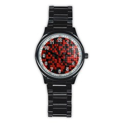Black Red Tiles Checkerboard Stainless Steel Round Watch by BangZart