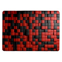 Black Red Tiles Checkerboard Samsung Galaxy Tab 10 1  P7500 Flip Case by BangZart