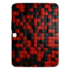 Black Red Tiles Checkerboard Samsung Galaxy Tab 3 (10 1 ) P5200 Hardshell Case  by BangZart