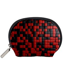 Black Red Tiles Checkerboard Accessory Pouches (small)  by BangZart