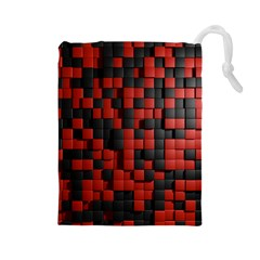 Black Red Tiles Checkerboard Drawstring Pouches (large)