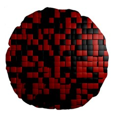 Black Red Tiles Checkerboard Large 18  Premium Flano Round Cushions by BangZart