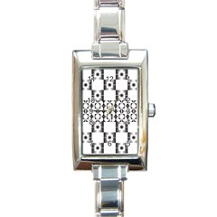 Pattern Background Texture Black Rectangle Italian Charm Watch by BangZart
