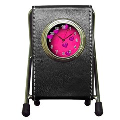 Background Heart Valentine S Day Pen Holder Desk Clocks by BangZart