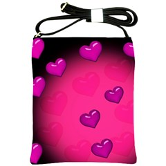 Background Heart Valentine S Day Shoulder Sling Bags by BangZart