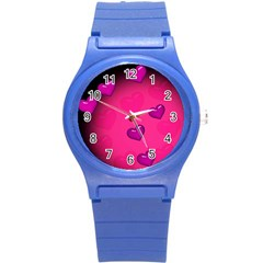 Background Heart Valentine S Day Round Plastic Sport Watch (s) by BangZart