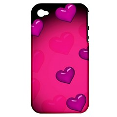 Background Heart Valentine S Day Apple Iphone 4/4s Hardshell Case (pc+silicone) by BangZart