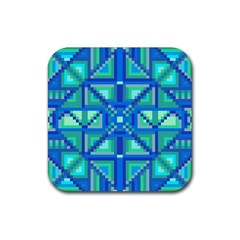 Grid Geometric Pattern Colorful Rubber Square Coaster (4 Pack)  by BangZart