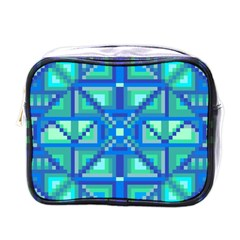 Grid Geometric Pattern Colorful Mini Toiletries Bags by BangZart