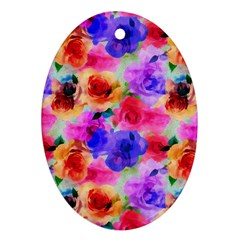 Floral Pattern Background Seamless Ornament (oval) by BangZart