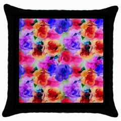 Floral Pattern Background Seamless Throw Pillow Case (black) by BangZart